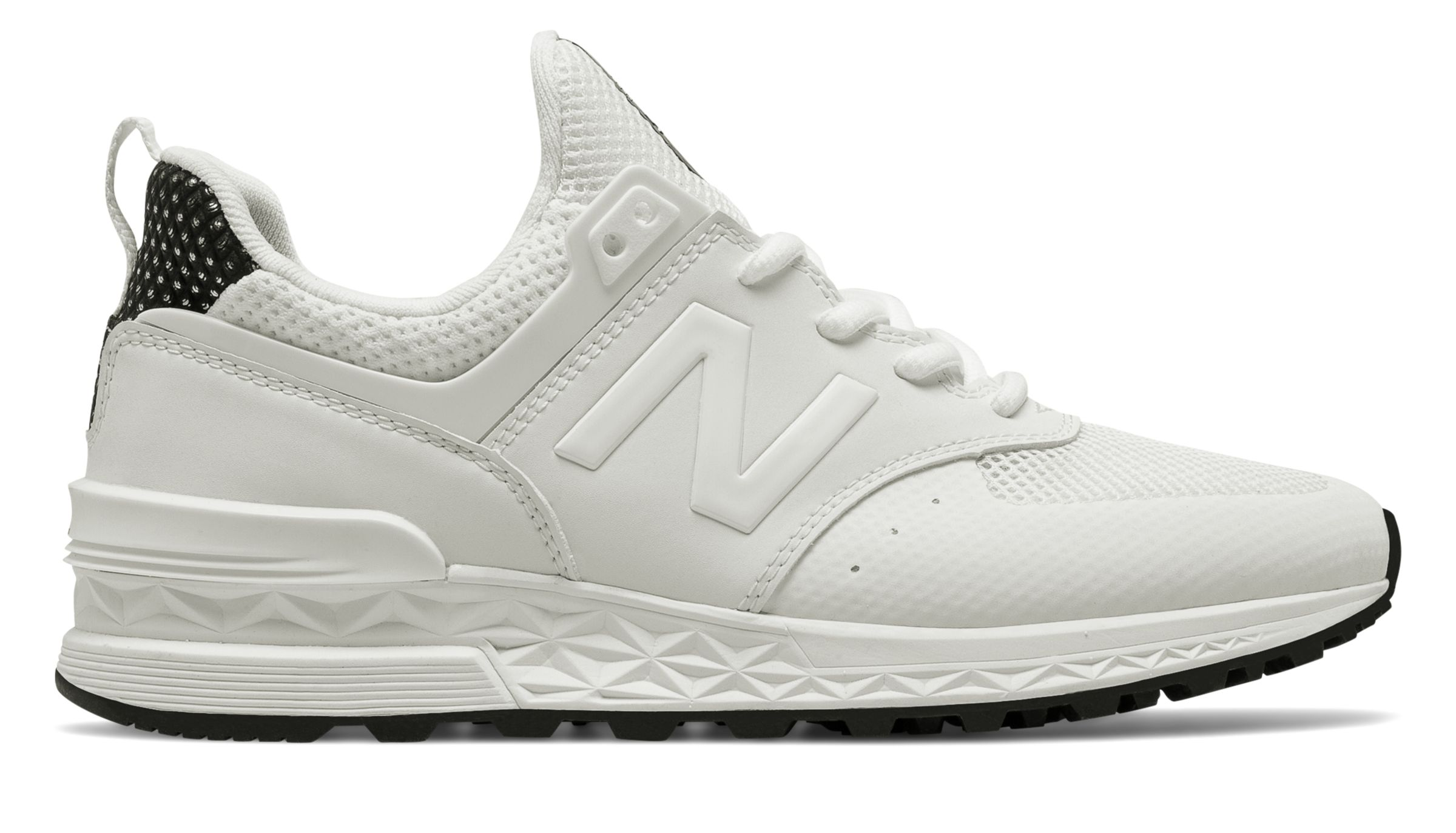 NB 574 Sport, White with Black