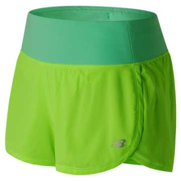 New Balance Impact 3 Inch Short, Lime Glo with Vivid Jade
