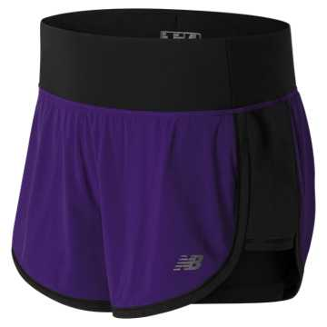 New Balance Impact 4 Inch 2 in 1 Short, Black Plum with Black