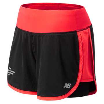 New Balance NYC Marathon Impact 4 Inch 2 in 1 Short, Energy Red