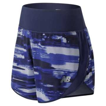 New Balance 5 Inch Printed Impact Short, Blue Iris
