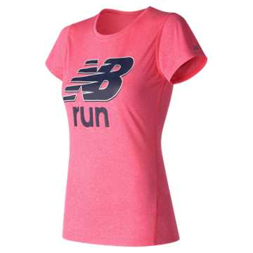 New Balance Heathered SS Tee Graphic, Alpha Pink Heather