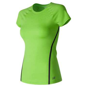 New Balance Trinamic Short Sleeve Top, Lime Glo Heather