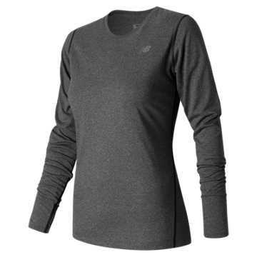 New Balance Heathered Long Sleeve Tee, Black Heather