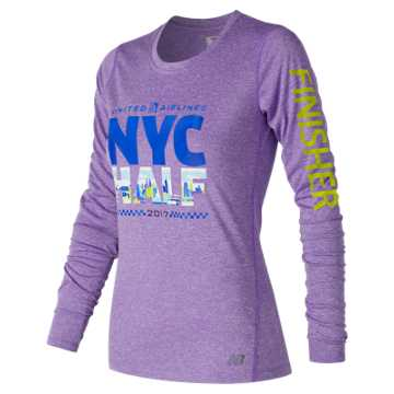 New Balance United NYC Half Finisher LS Tee, Alpha Violet Heather