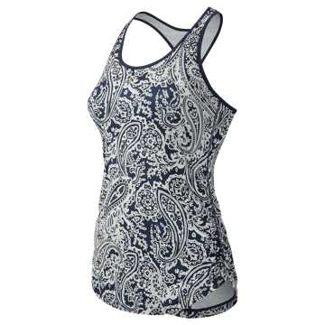 New Balance J.Crew Printed Perfect Tank, Navy with Silver Paisley