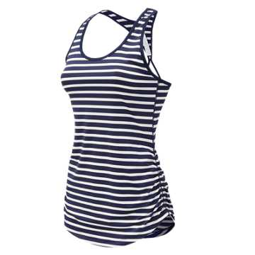New Balance J.Crew Printed Perfect Tank, Navy Stripe with White
