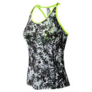 New Balance Racerback Bra Top Print, White with Black & Lime Glo