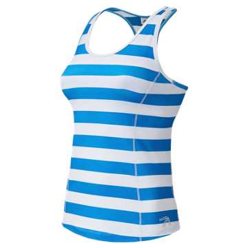 New Balance J. Crew Printed Racerback Tank Top, Steely Ocean Blue Rugby Stripe with Plaster White