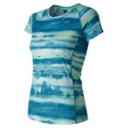 NB NB Ice Printed Short Sleeve, Deep Ozone Blue with White