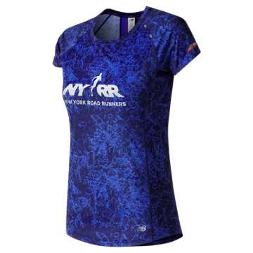 New Balance Run for Life NB Ice Printed Short Sleeve, Frozen Fade with Vivid Cobalt Blue