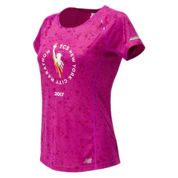 New Balance NYC Marathon NB Ice Printed Short Sleeve, Poisonberry