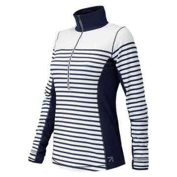 New Balance J. Crew In Transit Printed Half Zip, Plaster Sprint Stripe with Navy