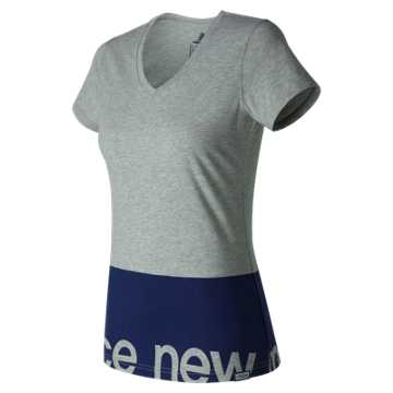 New Balance Classic V Neck Tee, Athletic Grey with Navy