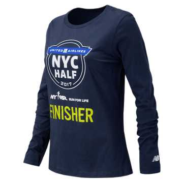 New Balance United NYC Half Finisher LS Tee, Heather Charcoal