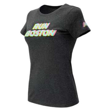 New Balance Run Boston Tri Color Graphic Tee, Black