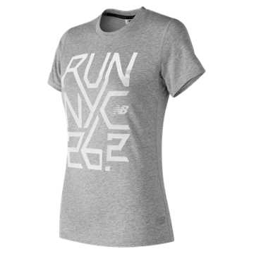 New Balance NYC Marathon Heather Tech Tee, Athletic Grey