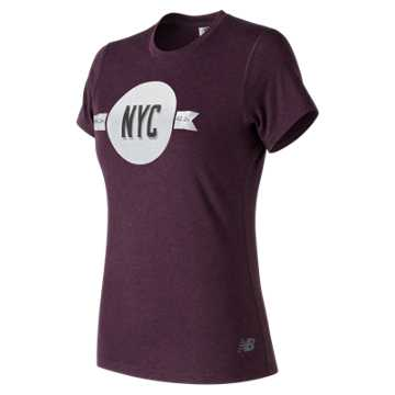 New Balance NYC Marathon Heather Tech Tee, Black Rose Heather