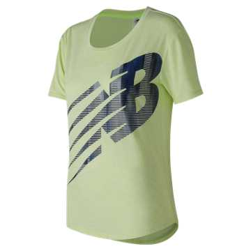 New Balance Graphic Heather Tech Tee, Bleached Lime Glo Heather