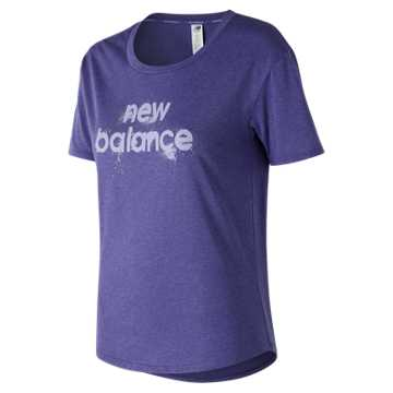 New Balance Graphic Heather Tech Tee, Ice Violet Heather