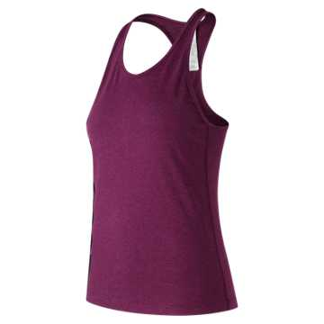 New Balance Graphic Heather Tech Racerback, Dark Mulberry Heather