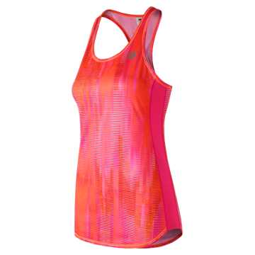 New Balance Accelerate Printed Tank, Vivid Tangerine with Accelerate Stripe
