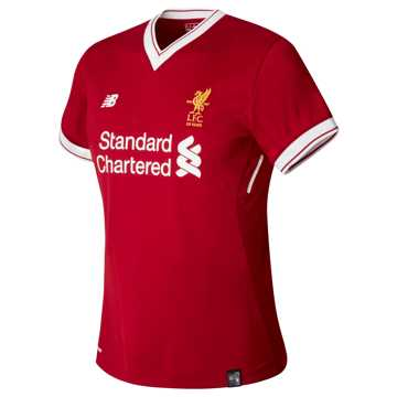 New Balance LFC Womens Wijnaldum Home SS EPL Patch Jersey, Red Pepper