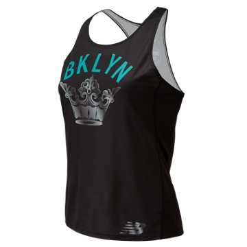 New Balance Brooklyn Half Singlet, Black with Teal