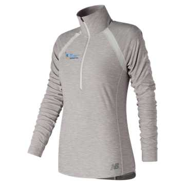 New Balance NYC Marathon Training Anticipate Half Zip, Sea Salt Heather