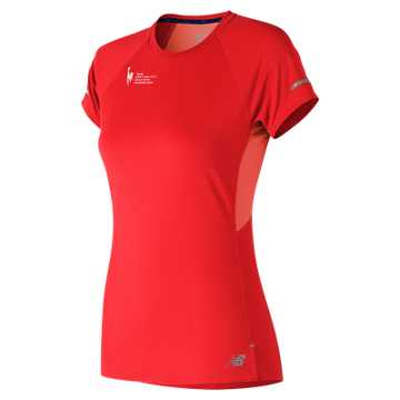 New Balance NYC Marathon Training NB Ice 2.0 Short Sleeve, Vivid Coral
