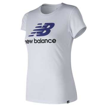 New Balance NB Logo Tee, White with Blue & Black