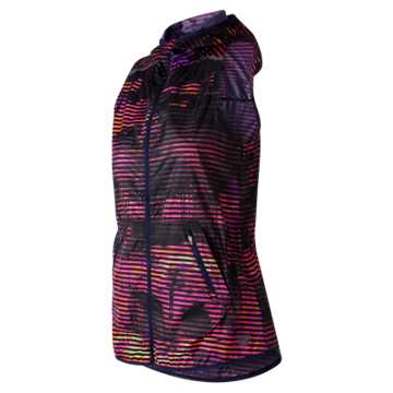 New Balance Windcheater Printed Vest, Navy with Striped Velocity