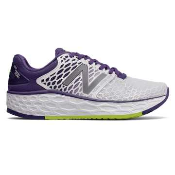 New Balance Fresh Foam系列 女款 轻量缓震 透气舒适, 白色/紫色