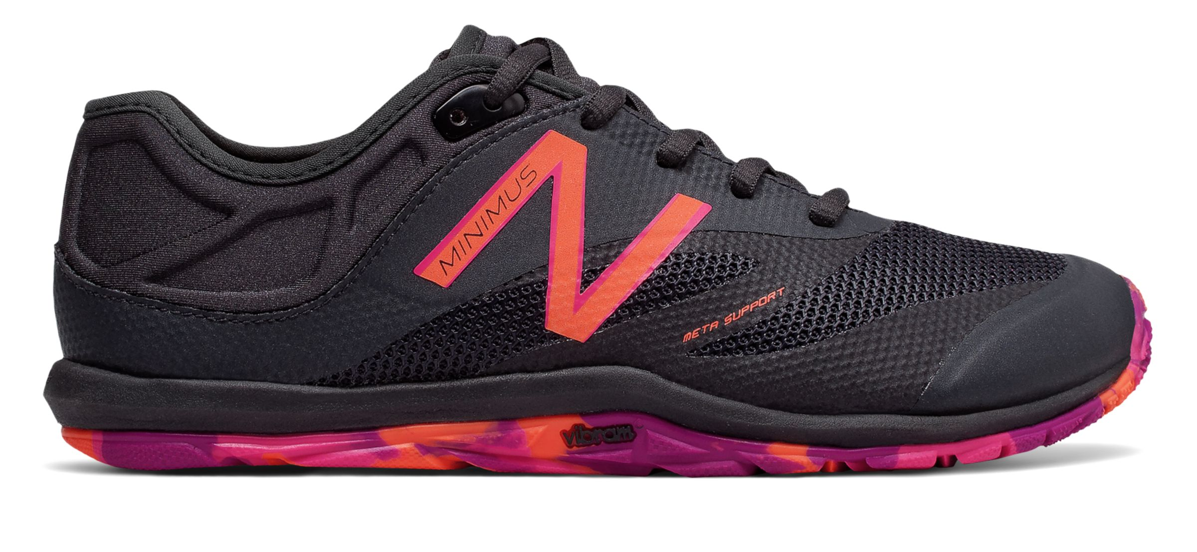 NB Minimus 20v6 Trainer, Dark Cyclone with Vivid Tangerine & Alpha Pink