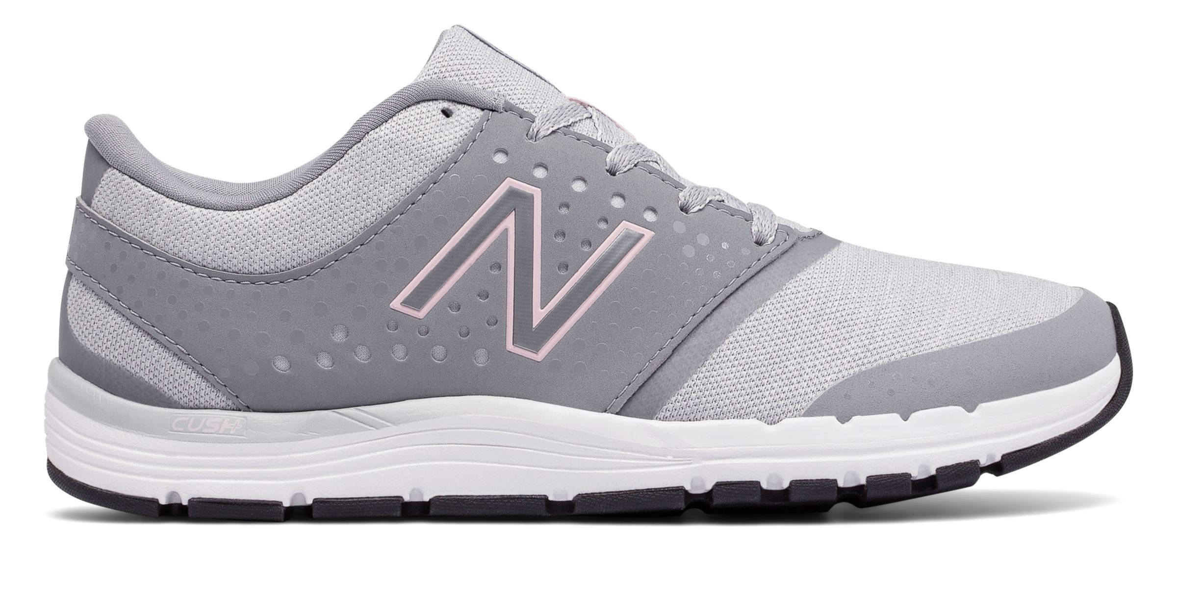 NB New Balance 577v4 Heathered Trainer, Grey with Light Pink & Light Grey