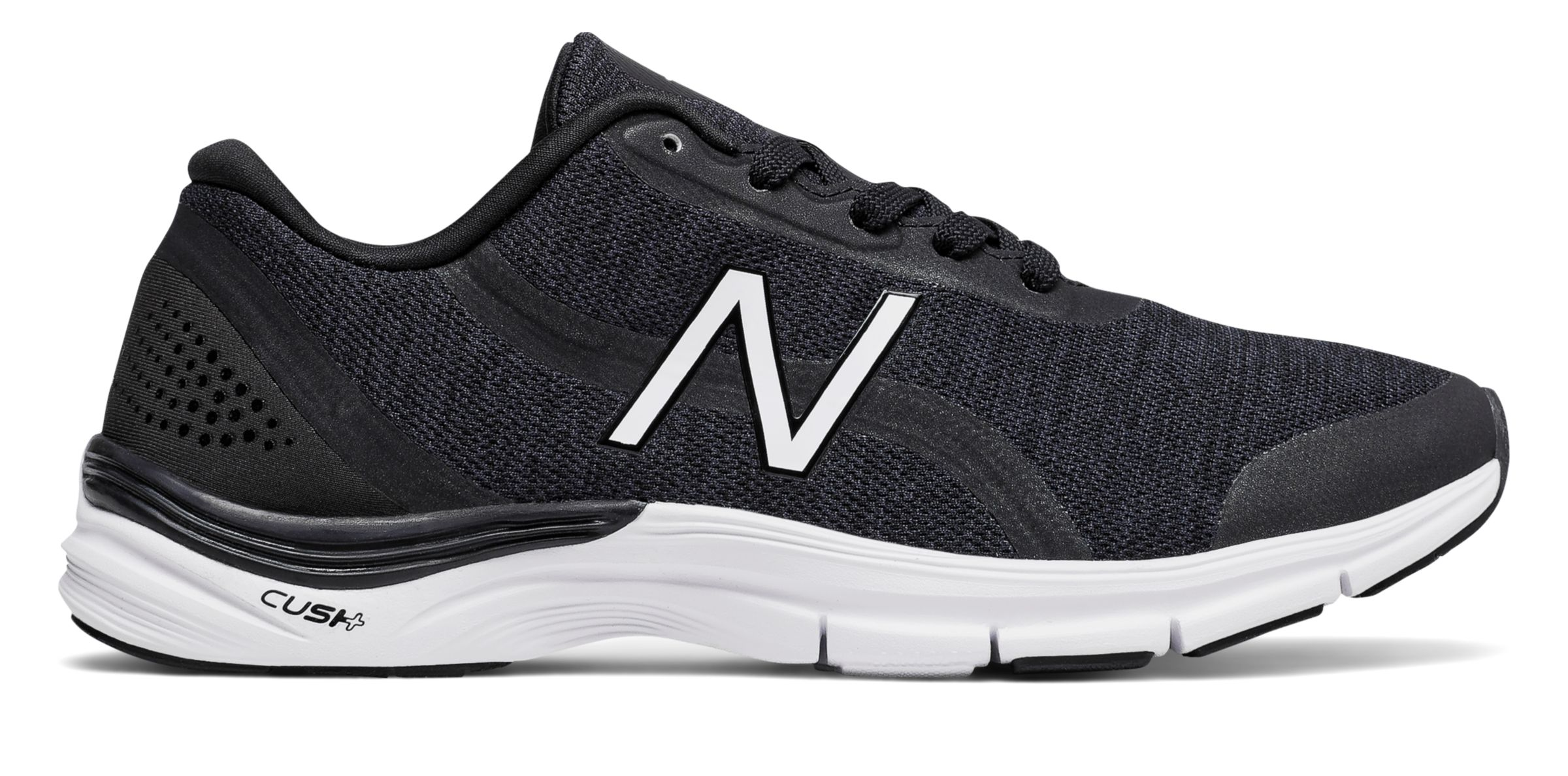NB New Balance 711v3 Heathered Trainer, Black with White