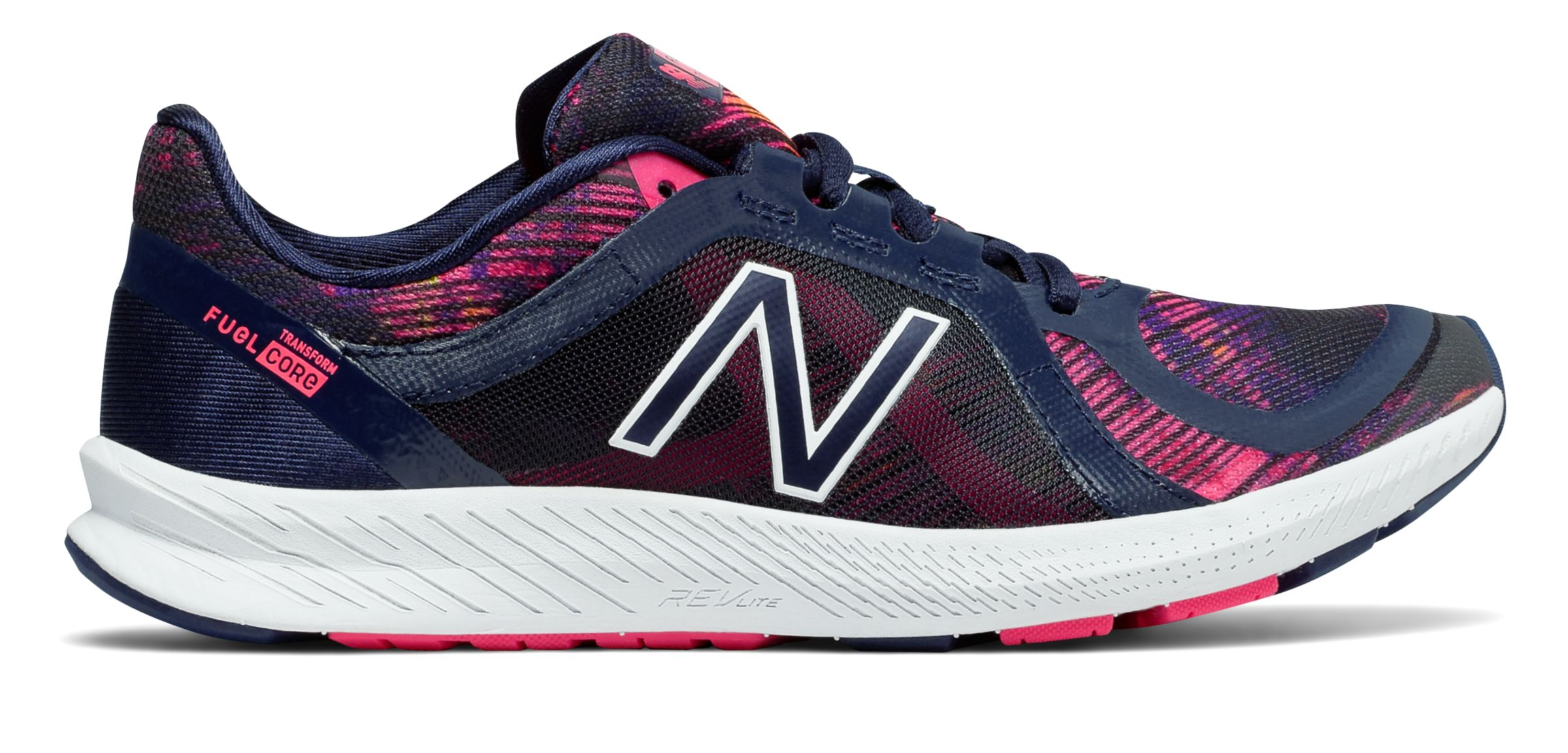 NB FuelCore Transform v2 Graphic Trainer, Pigment with Alpha Pink & Vivid Tangerine