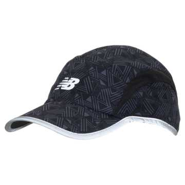 New Balance 5 Panel Performance Printed Hat, Black