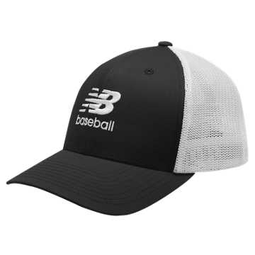 New Balance 6 Panel Baseball Trucker, Black with White