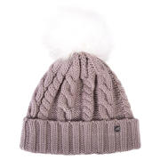 New Balance Lux Knit Pom Beanie, Flat White with White