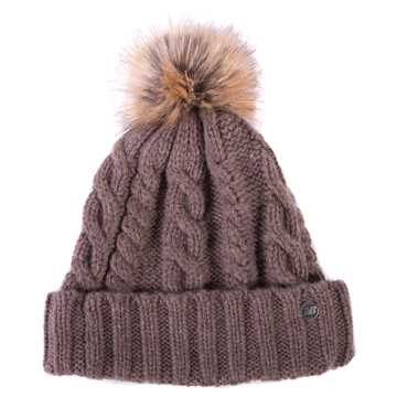 New Balance Lux Knit Pom Beanie, Dark Gull Grey with Tan