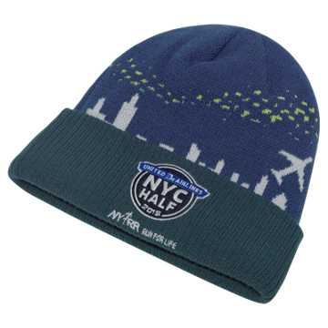 New Balance United Airlines NYC Half Scape Beanie, Atlantic with North Sea