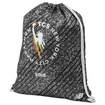 New Balance NYC Marathon Cinch Sack, Black with Grey