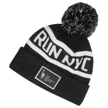 New Balance NYC Marathon RUN NYC Pom Beanie, Black