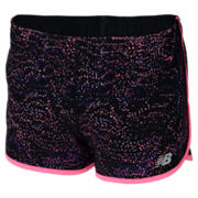 New Balance Junior Girls 2 in 1 Short, Black Multi