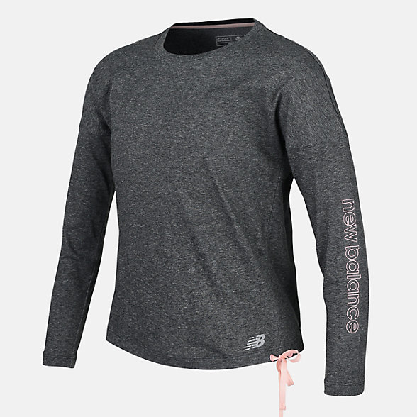 New Balance Girls Heather Tech Long Sleeve, AGT83102BKH