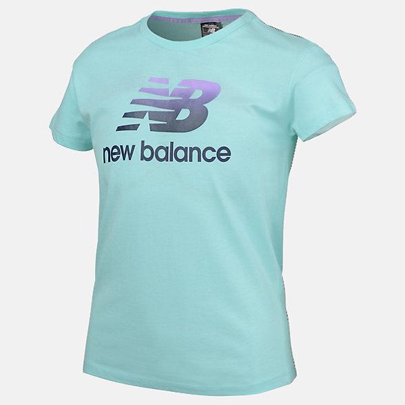 New Balance Girls Essentials Stacked Logo Tee, AGT91595LRF
