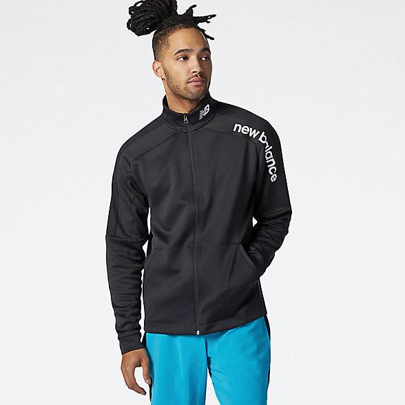 New Balance 男款高领运动外套, AMJ11090BK
