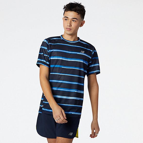 New Balance 男款字条纹运动短袖T恤, AMT01235HLU