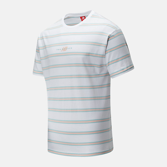 New Balance 男款条纹撞色短袖T恤, AMT01514WT